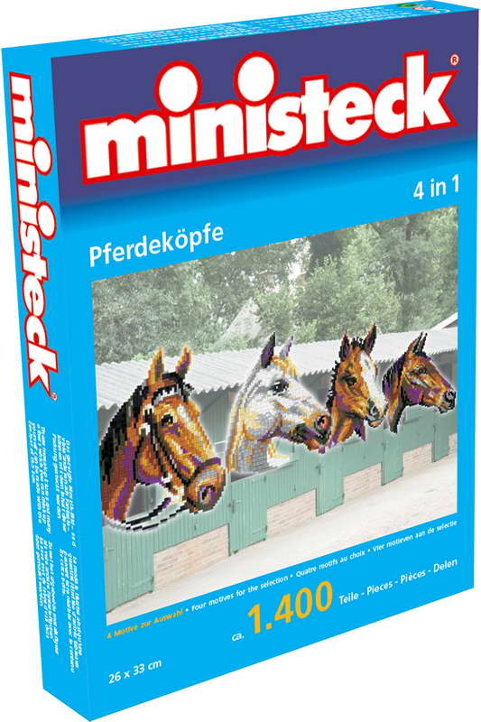 Ministeck paardenhoofden, 4 in 1, ca. 1.400 stukjes