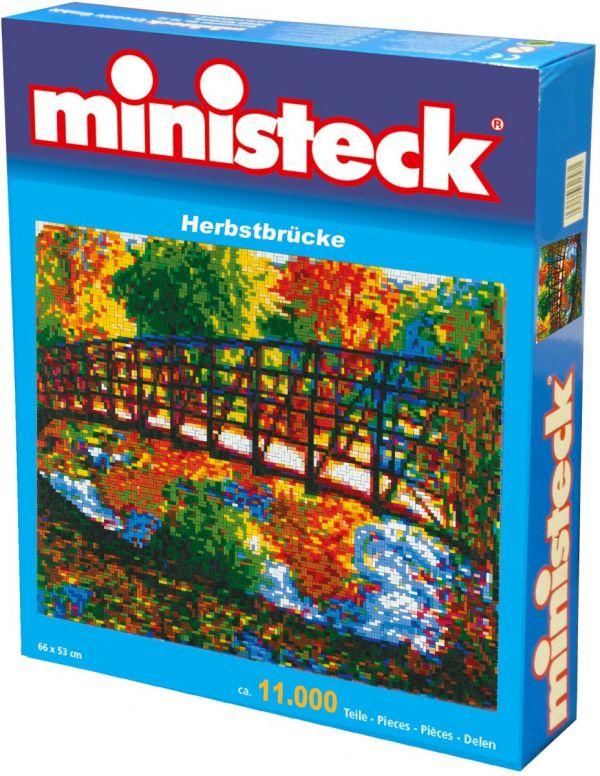 Ministeck brug met herfstdecor, ca. 11.000 stukjes, 66 x 53 cm