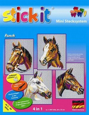 Stick-it paardenranch, 4 in 1 set, ca. 1.400 steentjes, ophanghaakje en heveltje