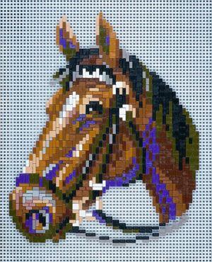 Stick-it paard met teugels, ca. 1.200 steentjes, ophanghaakje en heveltje